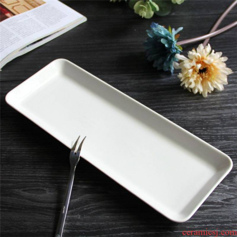 The Receive cup dish home sitting room ceramic creative Nordic glass cup tray ltd. white rectangle plate