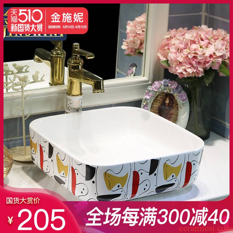 Gold cellnique jingdezhen stage basin ceramic art basin toilet lavabo square basin of the abstract art
