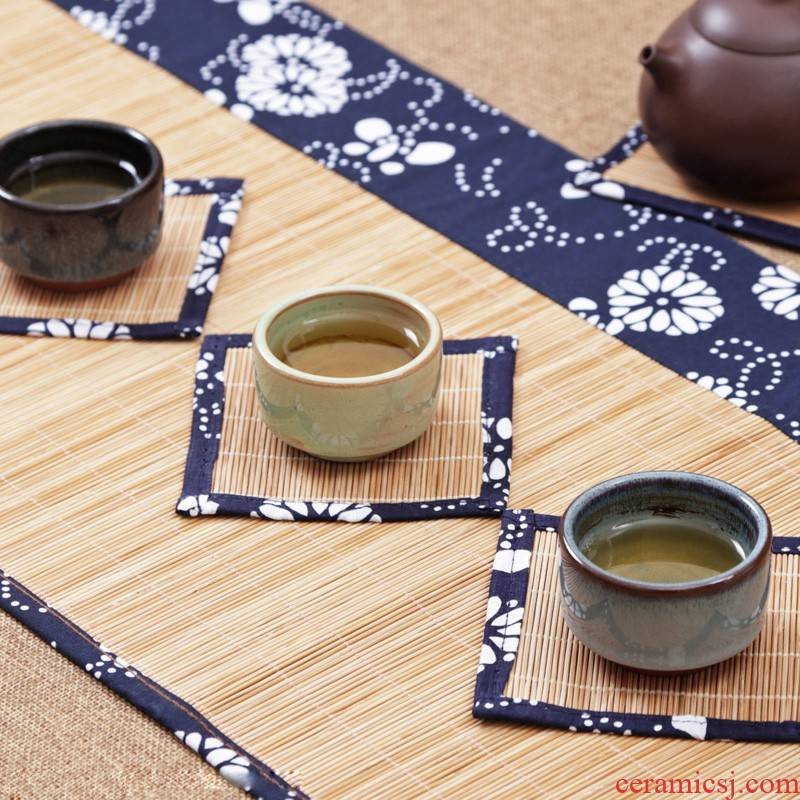Following the 2019 zen garden blue cloth tea table linen of blue and white porcelain tea tea tray MATS table flag cloth bamboo insulation cloth