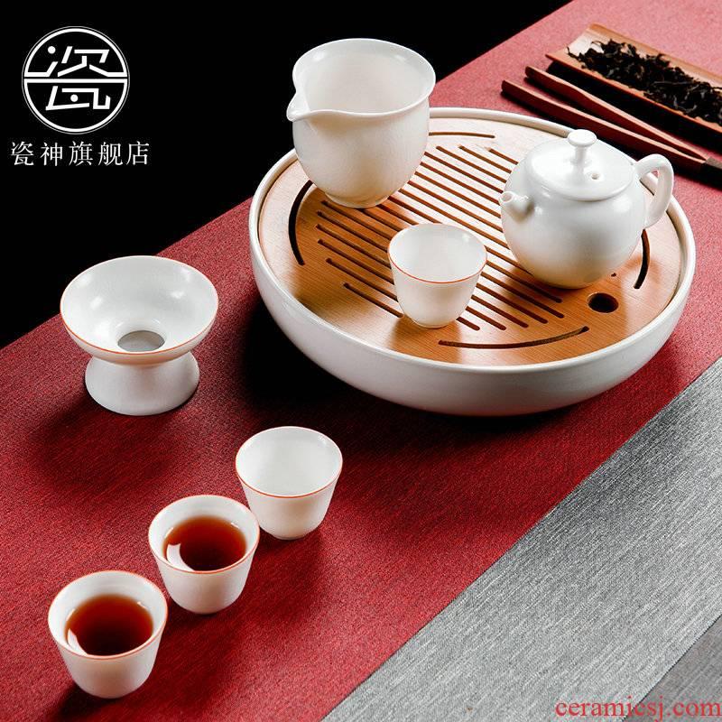 Porcelain god on your up, white tea sets suit household contracted ceramic kung fu tea tureen tea POTS