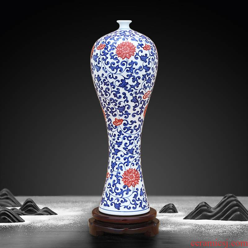 Jingdezhen ceramic blue and white porcelain vase bound branch lotus youligong furnishing articles sitting room flower arrangement, household act the role ofing is tasted arts and crafts