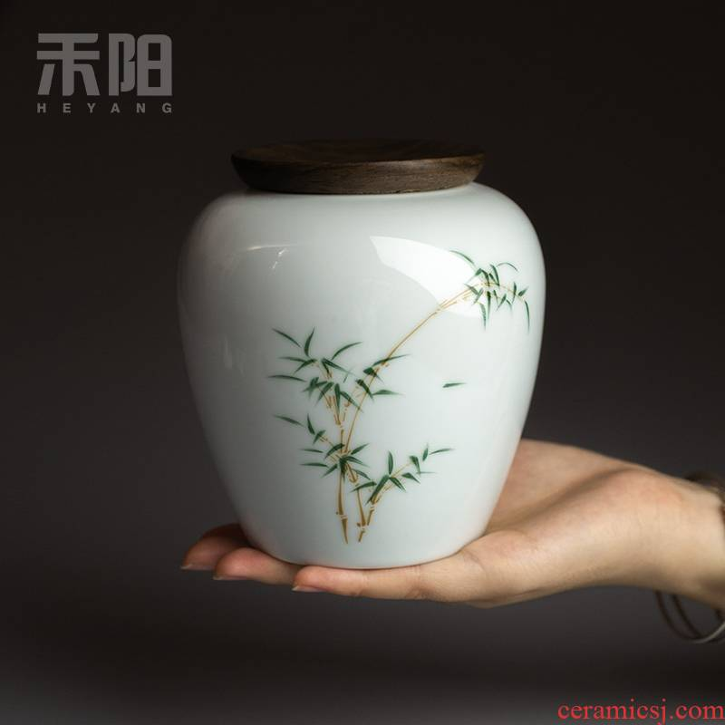 Send Yang ceramic tea pot small household seal pot of tea tea storage tanks storehouse storage POTS gift boxes of the jar