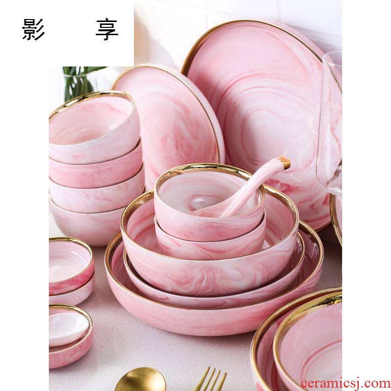 Shadow at up phnom penh pink marble ceramic tableware suit contracted household food dish dishes suit CDW TZ - 66