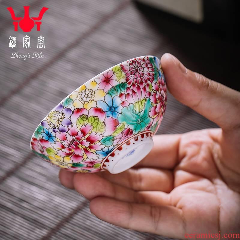 Clock home jingdezhen up enamel masters cup manual pastel colored enamel tea cup flower cup cup single CPU