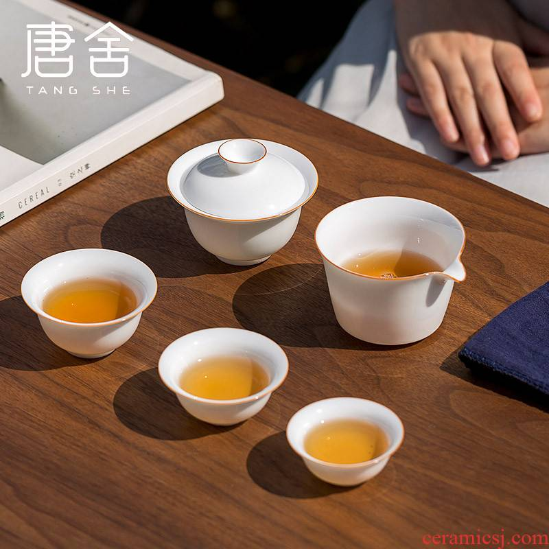 Don difference up sweet white thin foetus tureen crack a pot of 2 cup three white porcelain portable travel kung fu tea set