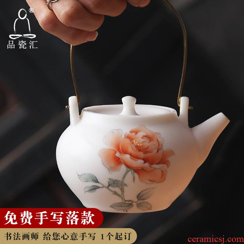 The Product porcelain sink white porcelain teapot Chinese rose girder suet jade teapot ceramic famille rose kung fu tea pot