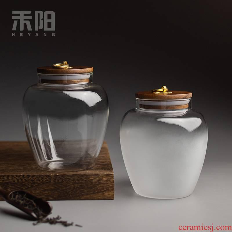 Send Yang acacia wood glass tea pot seal moisture trumpet tea tea storage tanks warehouse storage tank