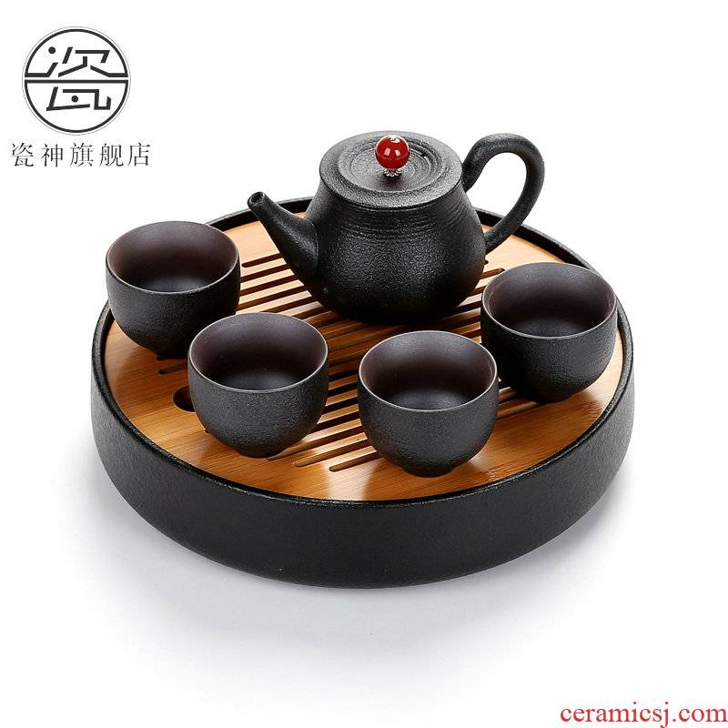 Black pottery porcelain household god zen travel kung fu tea set contracted the whole Taiwan Black some ceramic porcelain tea sets tea tray