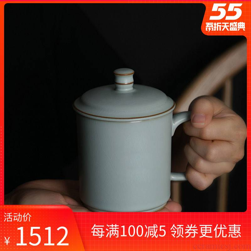 Your up office of jingdezhen ceramic cup with cover manual celadon teacup cracked gift boxes for its ehrs household water bottle