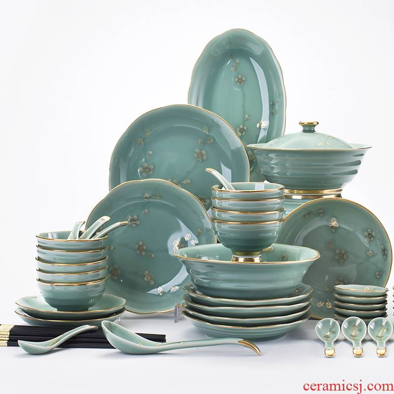 Red xin longquan celadon dishes north European style up phnom penh high - grade dishes web celebrity jingdezhen ceramics tableware suit