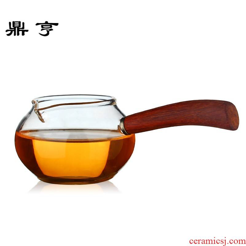 Ding heng thickening heat - resistant glass portion justice cup tea ware side the Japanese small tea sea ebony, rosewood handle by hand