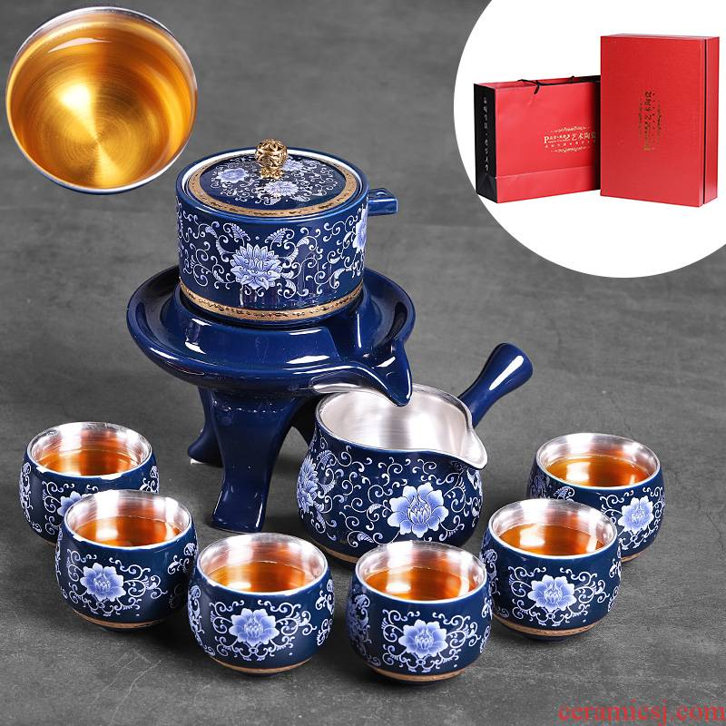 Lazy people make tea ceramic blue and white tea tasted silver gilding suit office fortunes stone mill with tea, kungfu tea cups