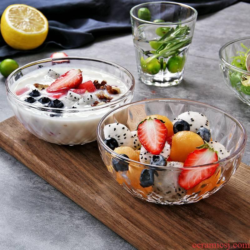 The Antarctic treasure household tableware transparent diamond fruit salad bowl soup bowl bowl dessert fruit bowl creative rainbow such as bowl cut glass