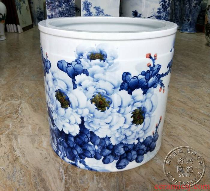 Furnishing articles hand - made porcelain jingdezhen ceramic vase peony HuaJian tube of painting and calligraphy calligraphy and painting of the big vase blooming flowers