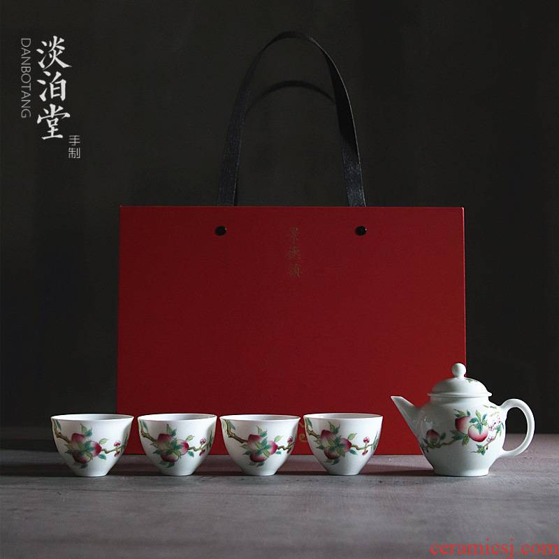 Poly real view jingdezhen high temperature hand peach colored enamel porcelain tea set tea service of a complete set of 5 caps gift boxes