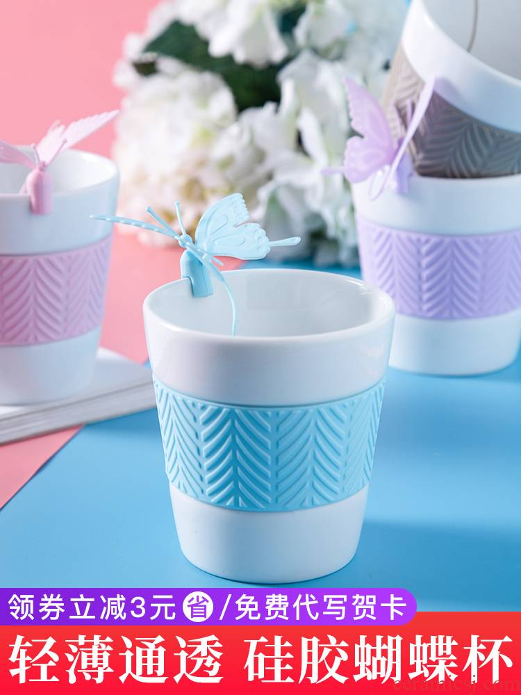 "E best la ins han edition of creative move trend ceramic tea cup super express of picking household water cup ""women"