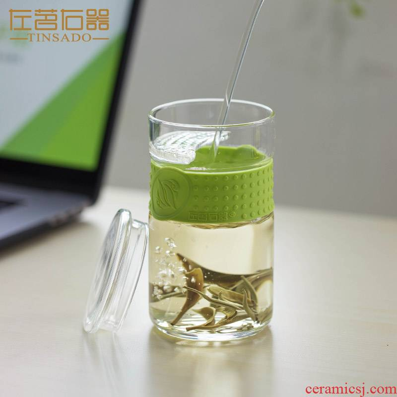ZuoMing right device with thick glasses prevent hot silicone ring household crescent filtering green tea cups with cover flower tea cups