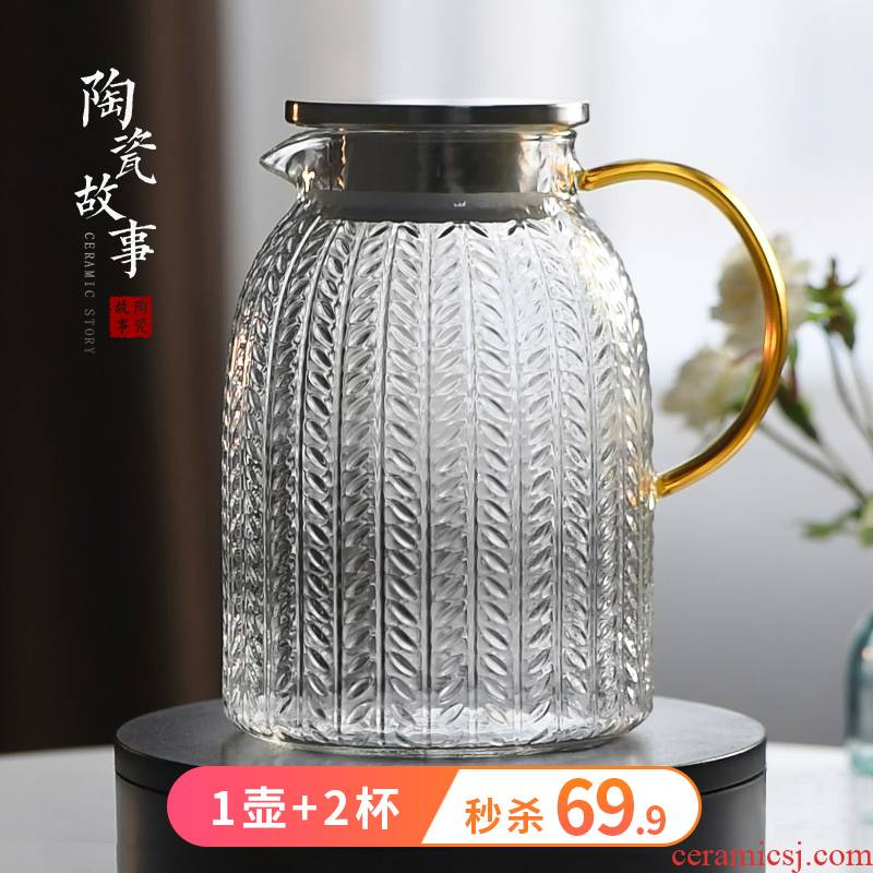 Cold water bottle glass ceramic story high - temperature firm pot of creative northern wind Cold boiled water kettle cup home outfit
