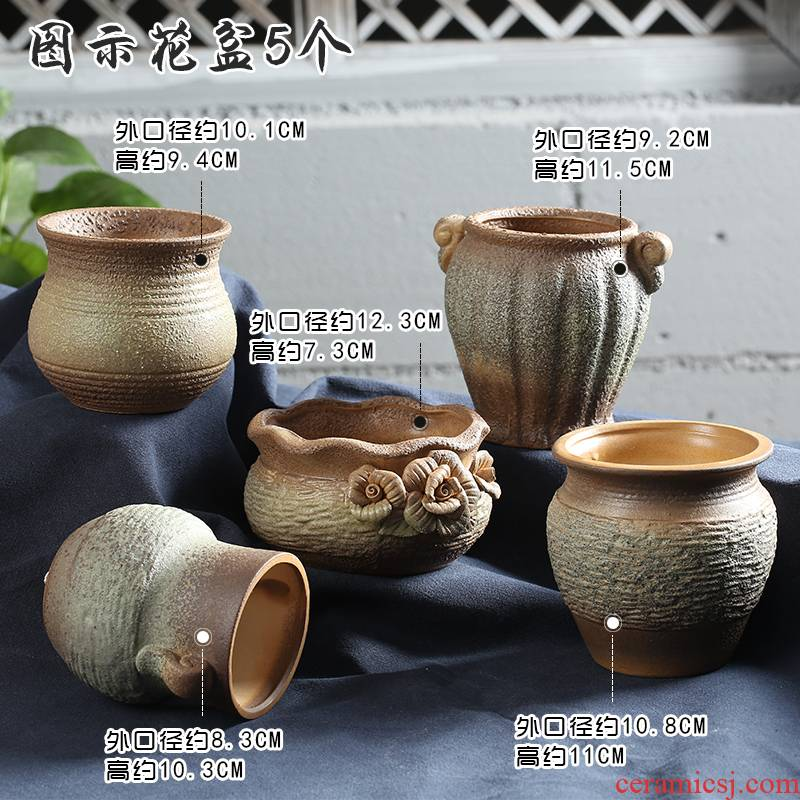End breathable retro coarse pottery special offer a clearance classical fleshy flowerpot ceramic platter of large diameter indoor old piles