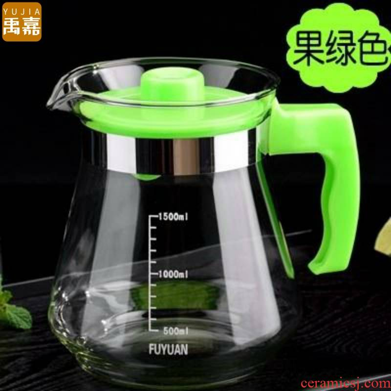 Pour boiled water large high borosilicate household heat resistant glass cold suit water with cold water cup tea YuJia kettle