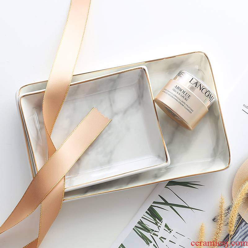The Nordic marble square pad household paint edge snack cake plate jewelry receive plate ceramic bathroom tray