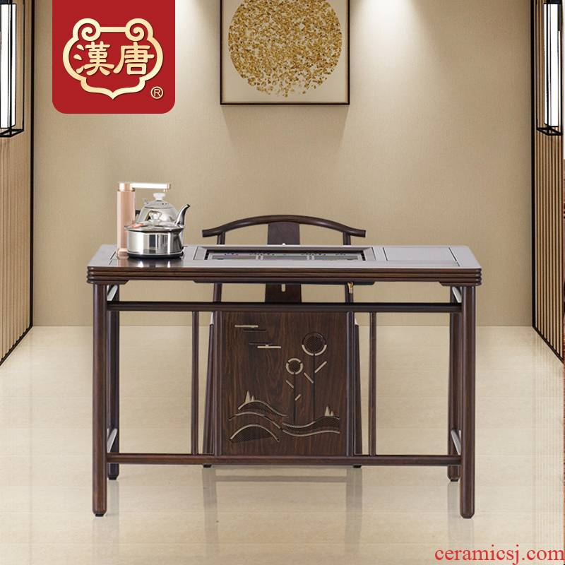 Han solid wood tea table and chair combination black rosewood hua limu tea tray of new Chinese style tea table, making tea, small tea table
