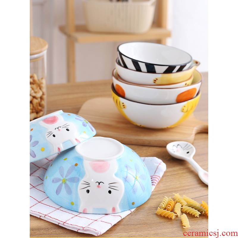 Hand - drawn cartoon animal model ceramic tableware to soft rice bowl of children creative household rainbow such to use individual students