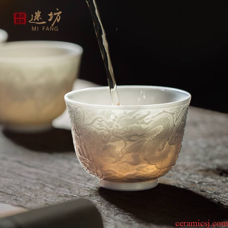 Jingdezhen carving master cup ceramic cup kung fu tea tea cups white ceramic cup personal single cup small bowl