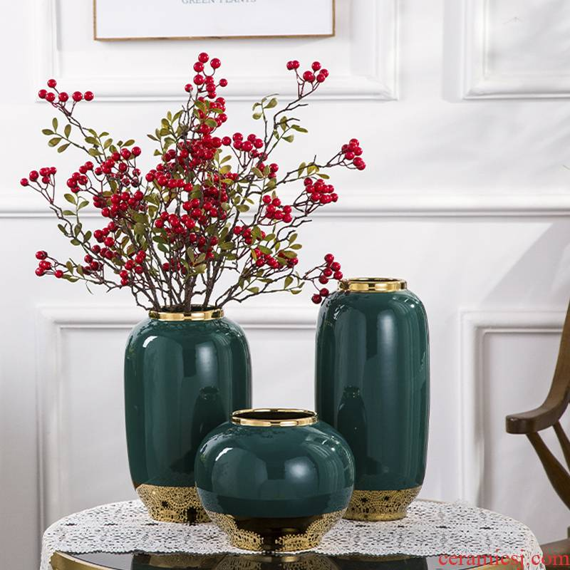 Ceramic vase artical sitting room flower arranging furnishing articles American I and contracted hydroponic dried flowers, creative household decoration