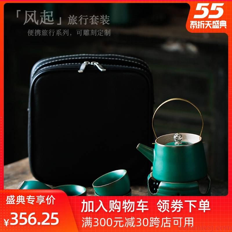 Leopard lam, travel tea set heating stove based warm tea ware Japanese tea set coarse pottery teacup tea portable