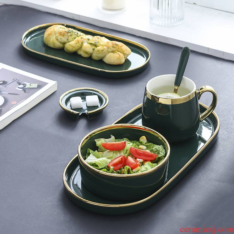 Nordic one eat breakfast table suit light key-2 luxury emerald ceramic plate plate household breakfast tray