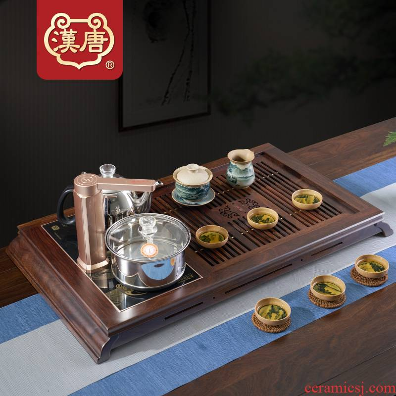 Han and tang dynasties tea set solid wood tea tray household the draw - out type tea table heart tea kettle kung fu tea set