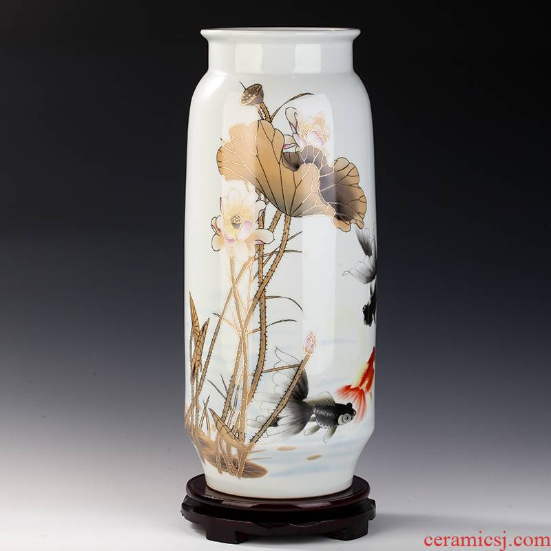 Jingdezhen chinaware lotus fish vase decoration of new Chinese style is I and contracted sitting room TV ark, furnishing articles