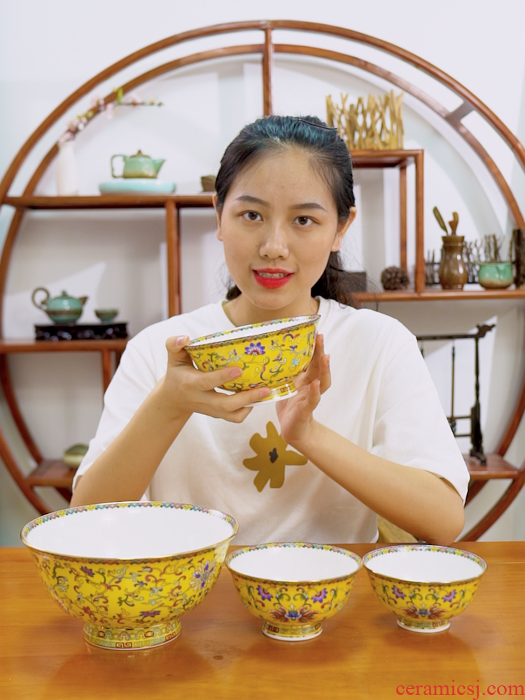 Jingdezhen enamel made pottery porcelain bowl plates spoon tableware suit Chinese style household porcelain bowl big ipads soup rainbow such use