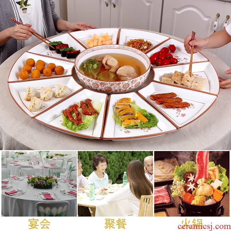 Web celebrity in same family meal seafood platter hotel tableware plate reunion ceramic composite brine platter