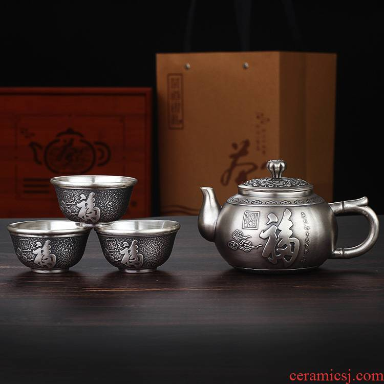 Xu ink fine silver S999 silver kung fu tea set five blessings insulation teapot teacup silver box