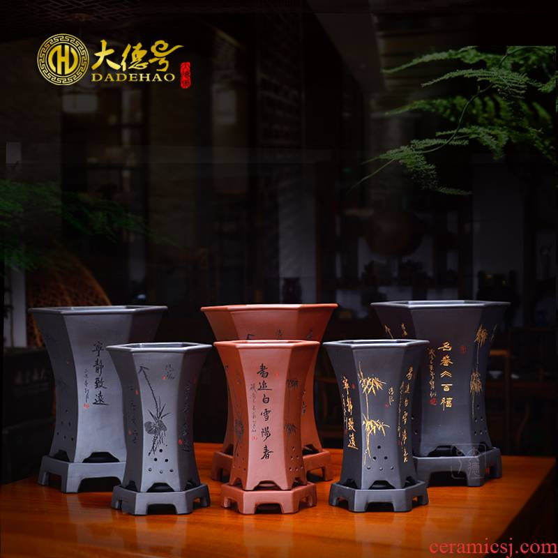 Greatness, yixing purple orchid flower POTS six basin bluegrass potted flowers, potted orchids objective beam waist