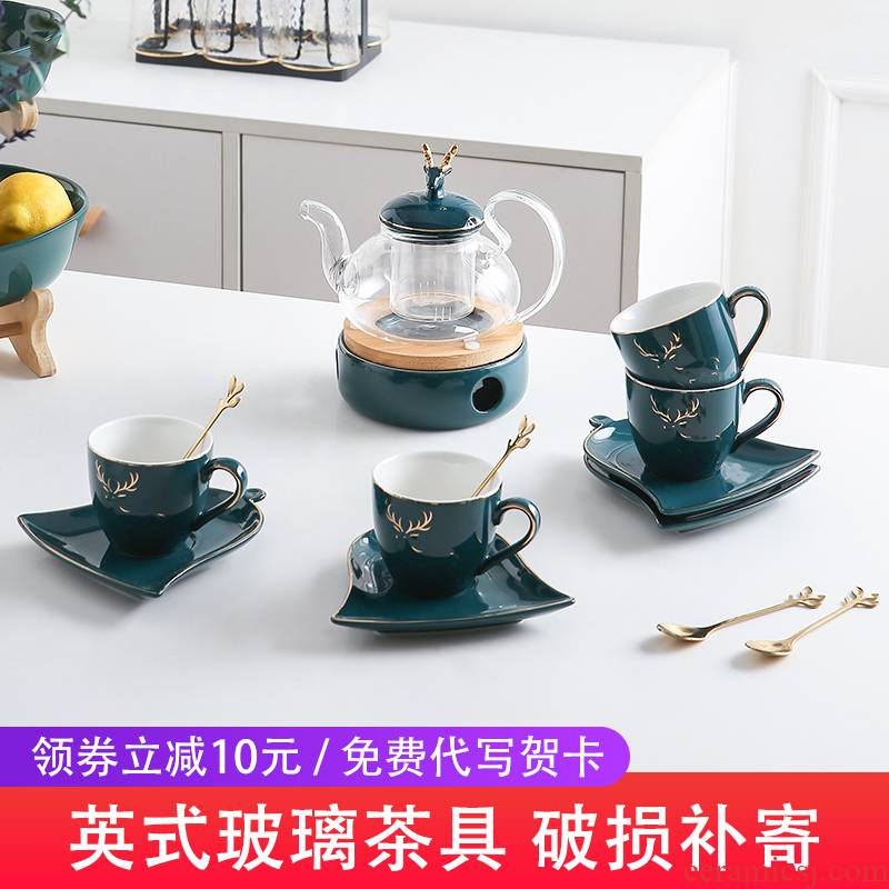 English afternoon tea tea set suit household glass flower cup European Nordic fruit tea based heating type