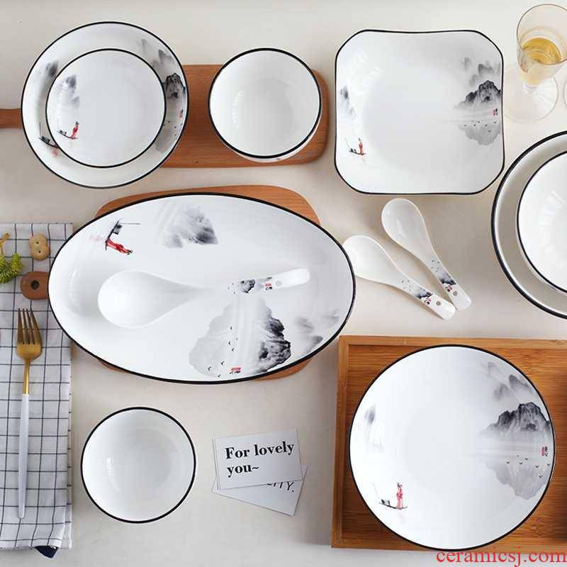 Ceramic bowl dish plate tableware home European contracted more creative dishes fish dish of 0 ladle the soup bowl
