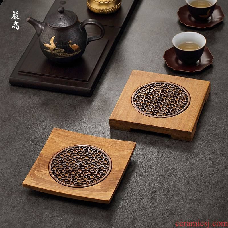 Morning high bearing heavy bamboo pot pot mat pot holder are it saucer kung fu tea tray tea accessories bamboo mat