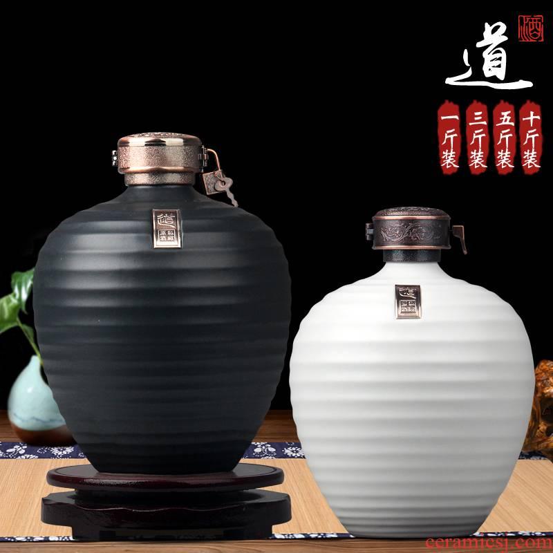 Archaize of jingdezhen ceramic jar 1 catty 3 kg, 5 kg pack sealing liquor bottle home little hip wine wine