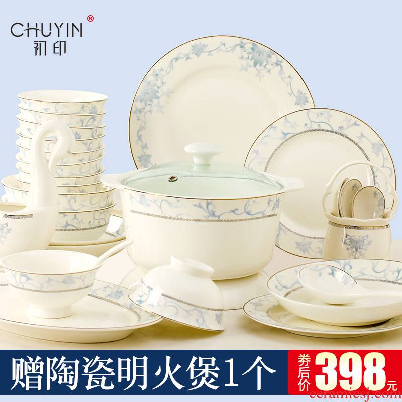 The dishes suit household contracted combination Chinese jingdezhen ceramic ipads China tableware suit dishes chopsticks combination
