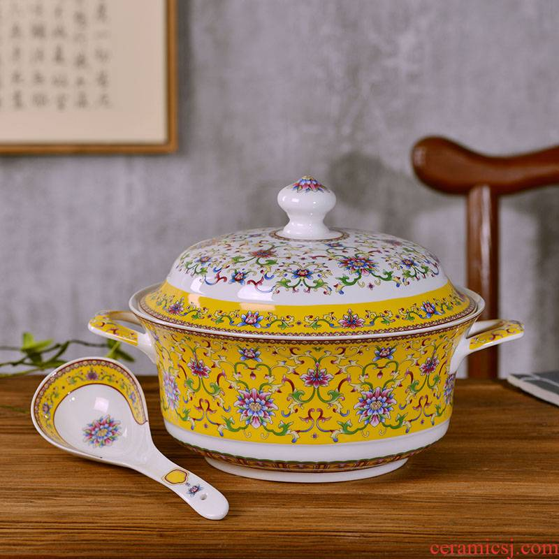 Jingdezhen ceramic tableware suit large soup bowl basin of Chinese style household ipads porcelain soup pot with cover ears against the hot mail