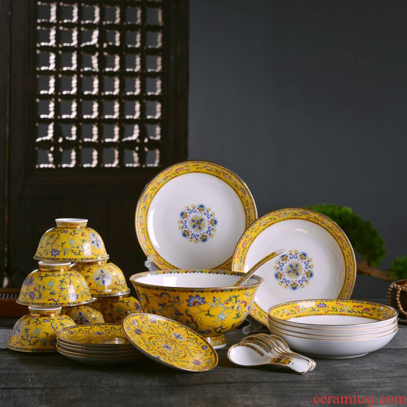 Jingdezhen bowls plates spoon tableware suit Chinese style household ipads porcelain bowl of rice bowls bedding face deep dish slag plate of the spoon