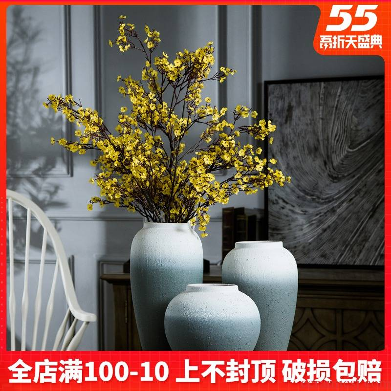Jingdezhen coarse pottery all over the sky star, dried flower ceramic vase to restore ancient ways small and pure and fresh flower arranging Nordic pottery furnishing articles sitting room