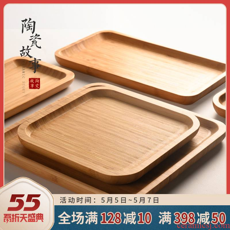 Ceramic story bamboo tray was solid wood tea tea tray was home small fruit bowl Japanese heavy wood dry mercifully tea accessories