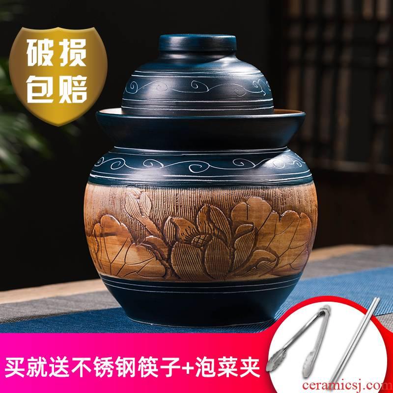 Jingdezhen pickle jar earthenware pickles household seal pot of salted duck egg carving more old sichuan jars