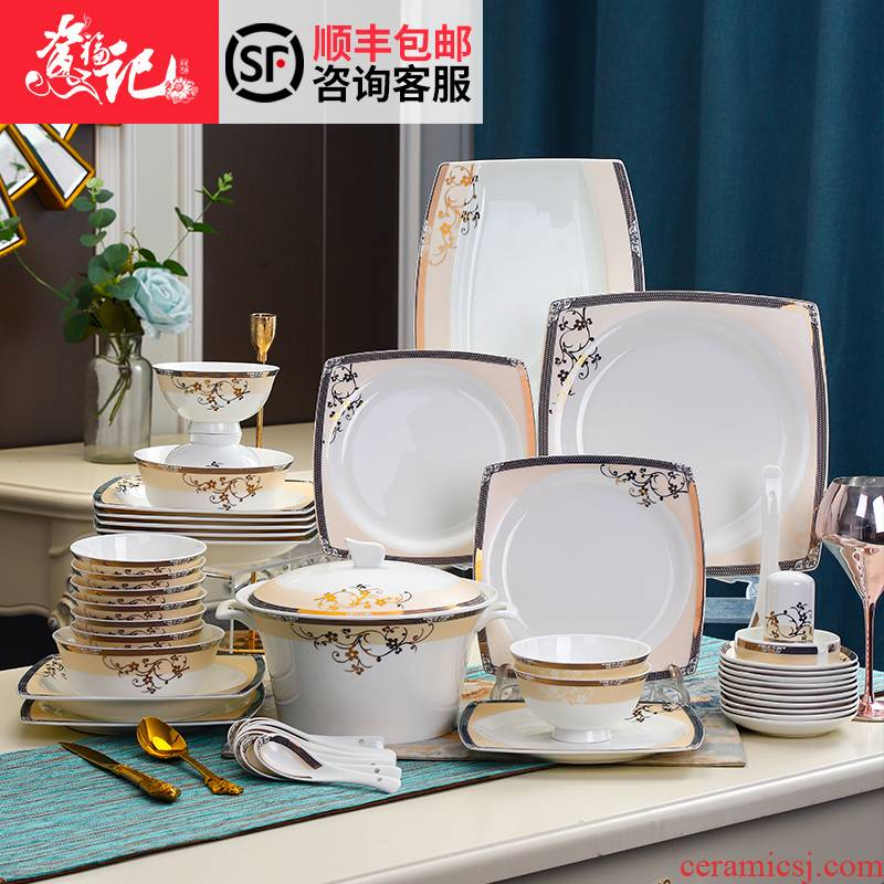 The dishes suit household tableware suit square dishes dishes household gifts tableware jingdezhen ceramic tableware bowls