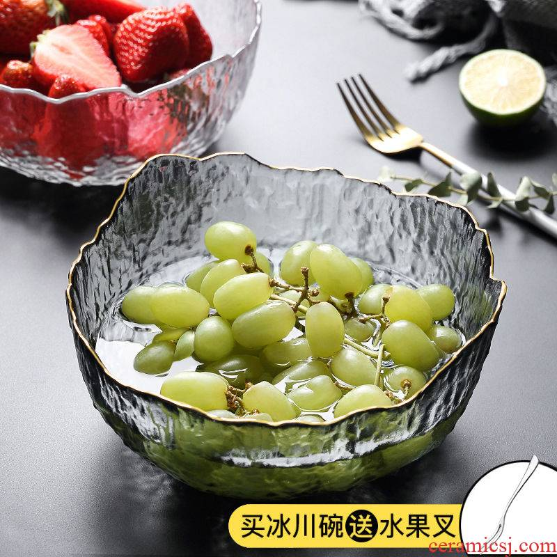 Fruit bowl boreal Europe style compote household creative I sitting room tea table crystal glass plate basin web celebrity ins