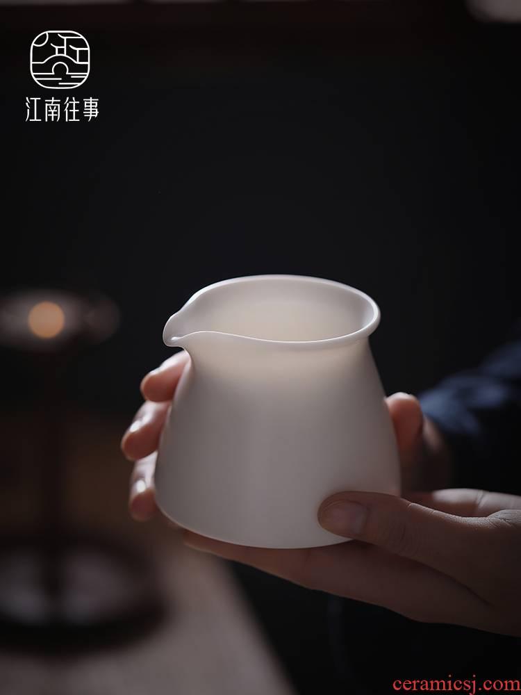 Jiangnan past fair dehua white porcelain cup suet jade oolong tea sea kung fu tea tea accessories ceramics points